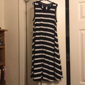 The Limited blue and white sleeveless dress